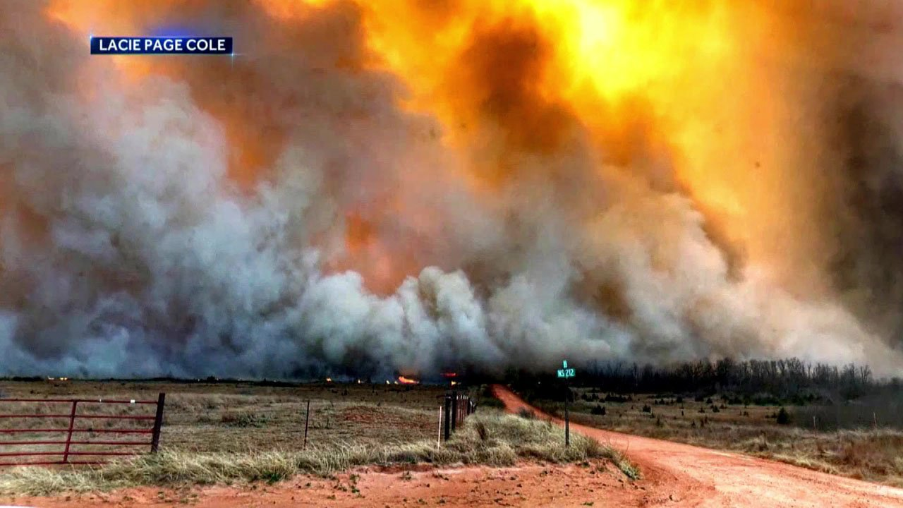 Wildfires swept across western Oklahoma over the weekend. (Lacie Page Cole via NBC News)