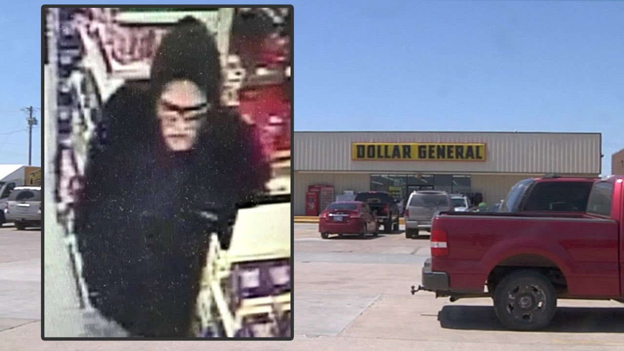 A surveillance photo (inset) of the suspect in the Sunday morning holdup of the Dollar General store in Marietta. (KTEN)