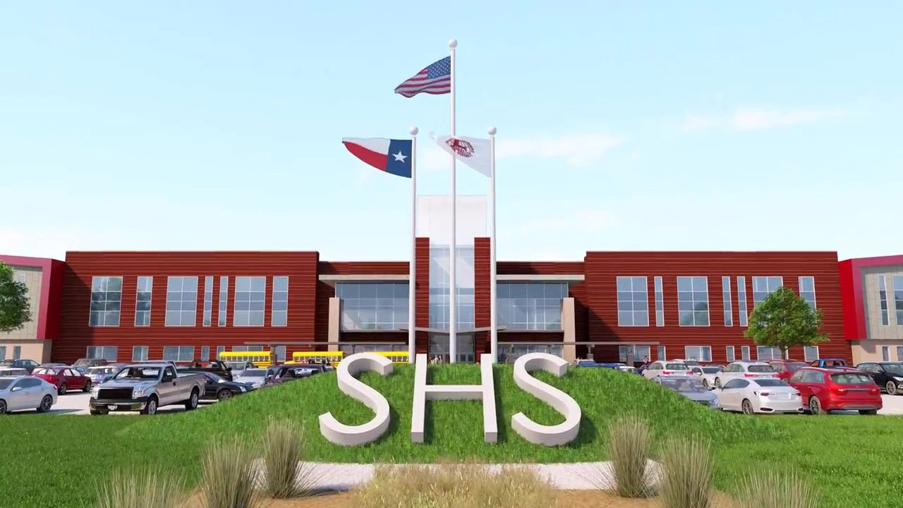 An architectural rendering of the new Sherman High School. (Sherman ISD)