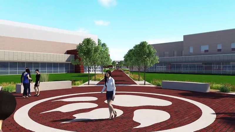 "An architectural rendering of the ""pride walk"" at the new Sherman High School. (Sherman ISD)"