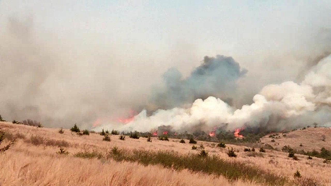 Wildfires raced across northwest Oklahoma.