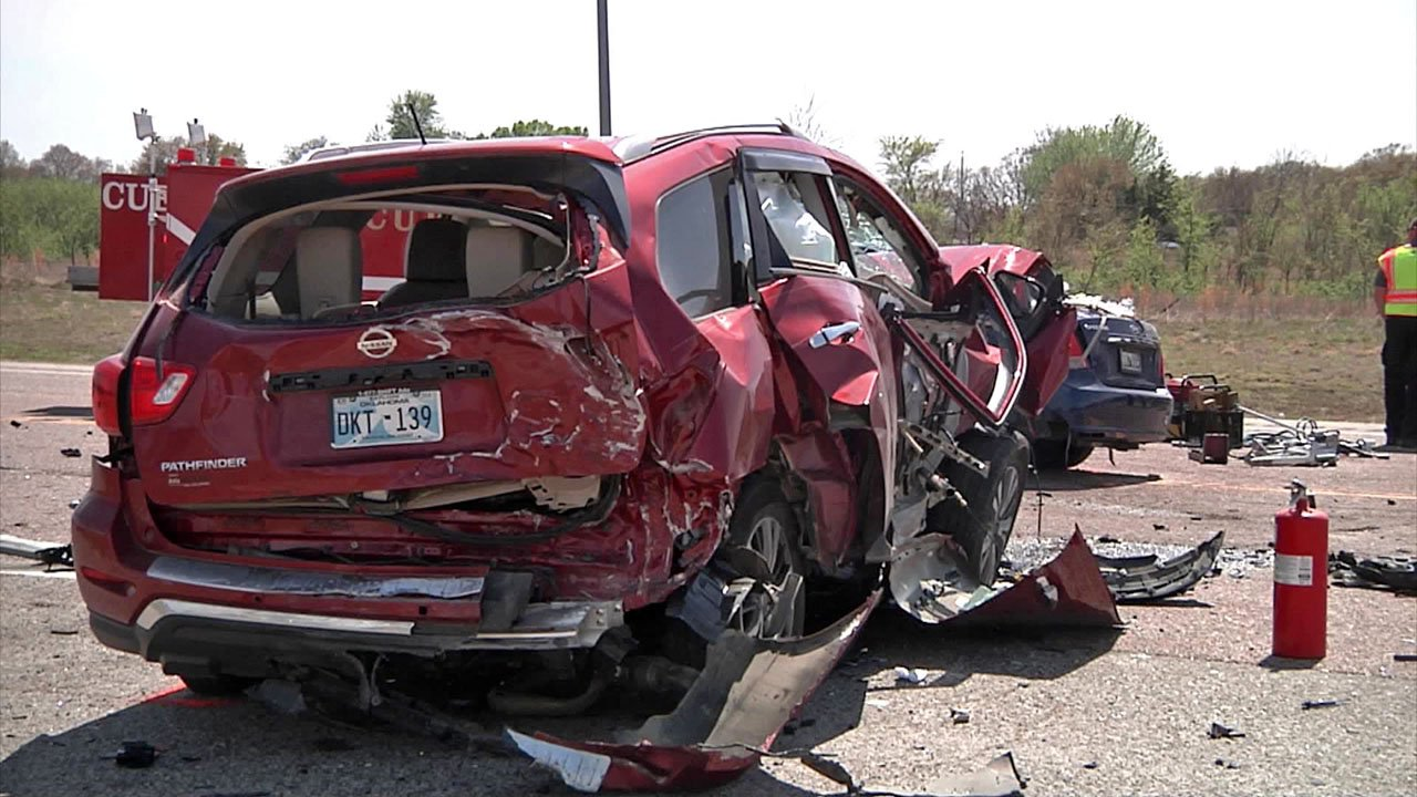 Troopers said the driver of this SUV crossed the center line on a highway near Ada and struck two other cars. (KTEN)