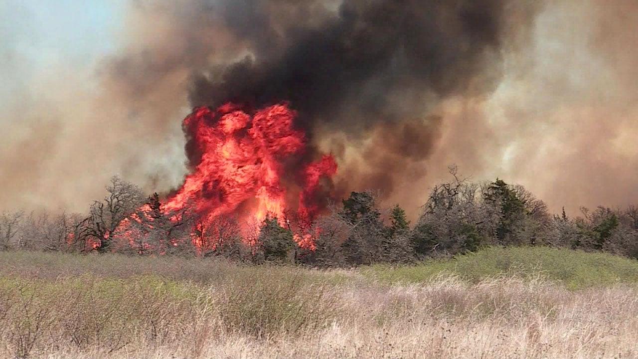 A wildfire burning in Dewey County, Oklahoma. (KFOR via CNN)