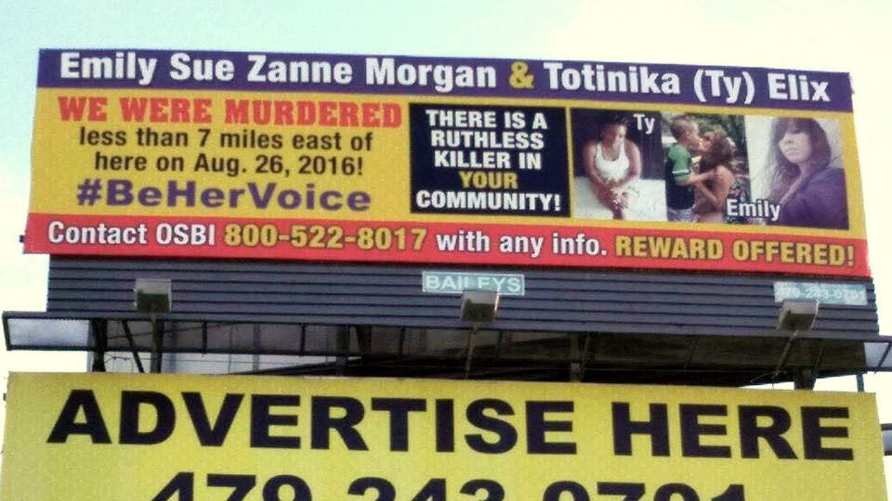 A billboard in McAlester appeals for information to solve a 2016 double murder case. (Facebook)