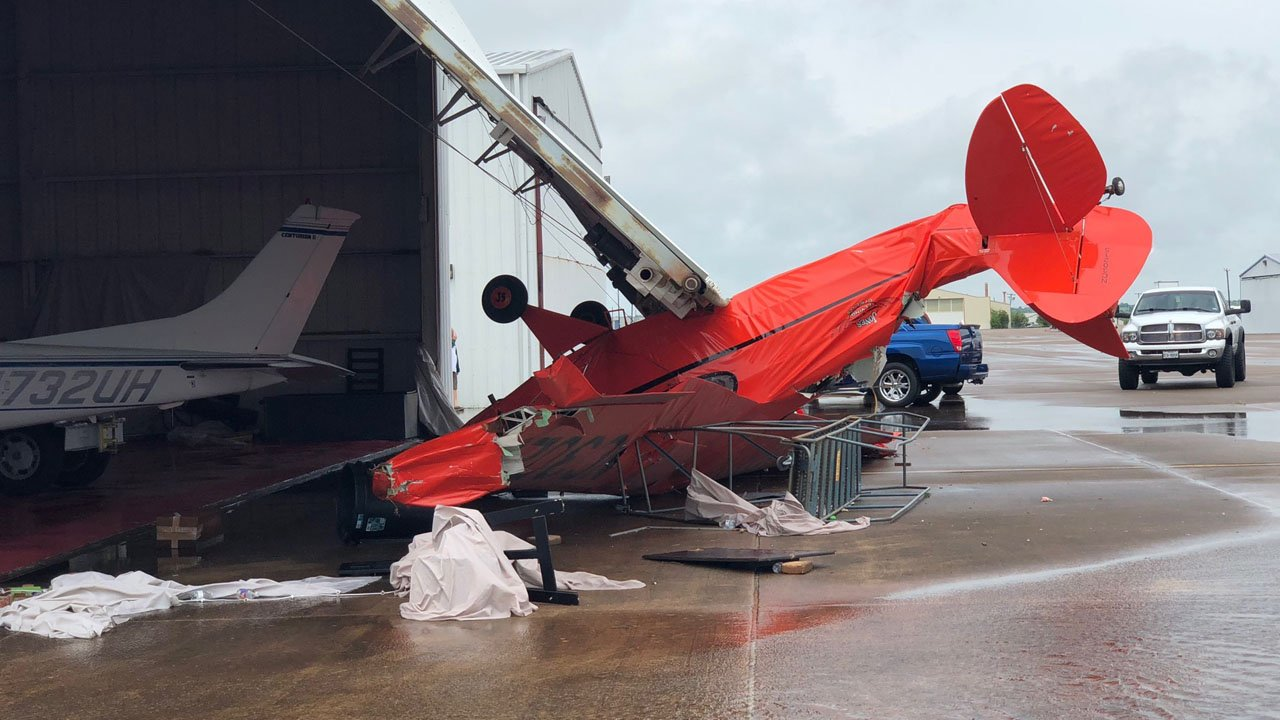 Powerful winds flipped a small plane upside-down at North Texas Regional Airport on May 3, 2018. (KTEN)