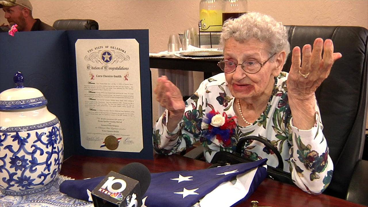 World War II veteran Cora Smith was honored on her 94th birthday. (KTEN)