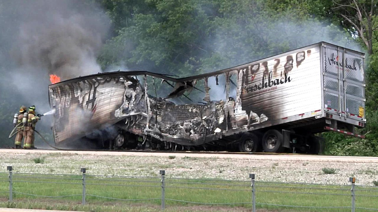 Officials said the contents of the trailer burning on I-35 posed no hazard. (KTEN)