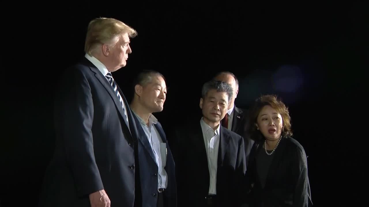 President Trump welcomes Korean-Americans freed by Kim Jong Un. (CNN)