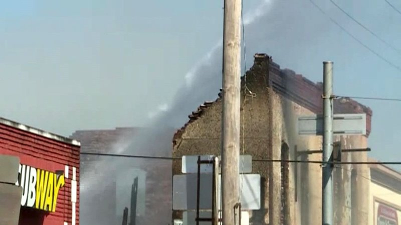 At least two buildings were destroyed by fire in downtown Talihina, Oklahoma. (KHBS/KHOG via CNN)