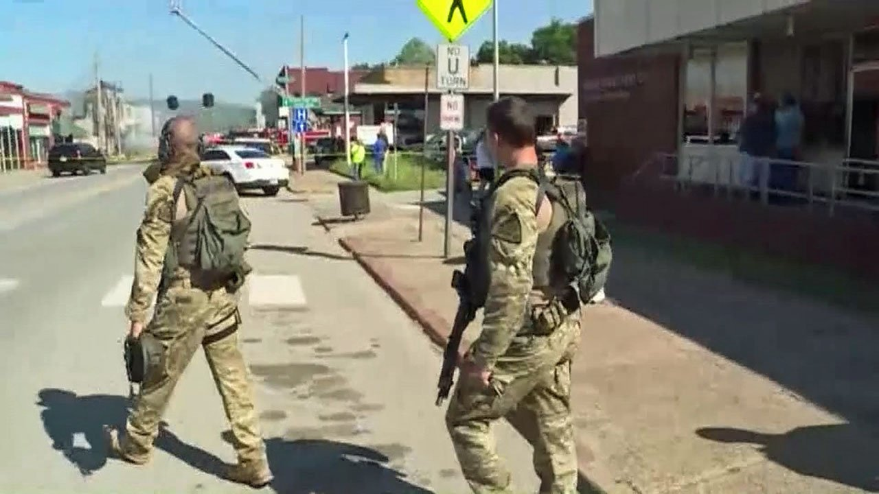 The Oklahoma Highway Patrol said an armed suspect fired on law enforcement officers serving a warrant in downtown Talihina. (KHBS/KHOG via CNN)