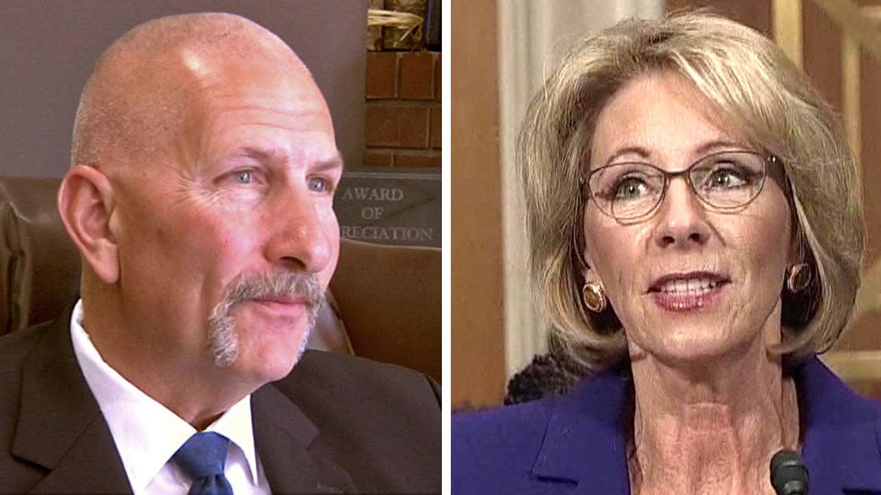 Durant teacher Jon Hazell confronted Education Secretary Betsy DeVos. (KTEN)