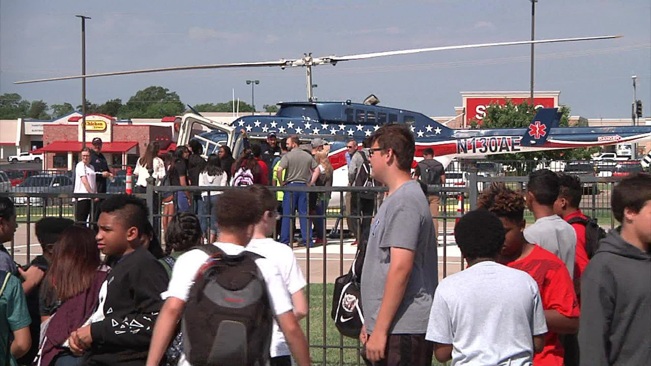 The Air Evac Lifeteam helicopter was a highlight of a tour of Mercy Hospital for Ardmore Middle School students. (KTEN)
