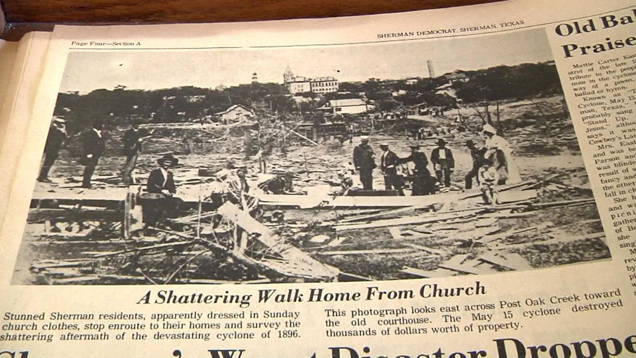 A newspaper clipping shows the devastation that followed the 1896 Sherman tornado. (KTEN)