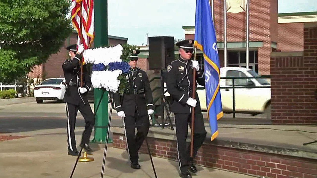 A solemn National Police Week ceremony in Durant. (KTEN)