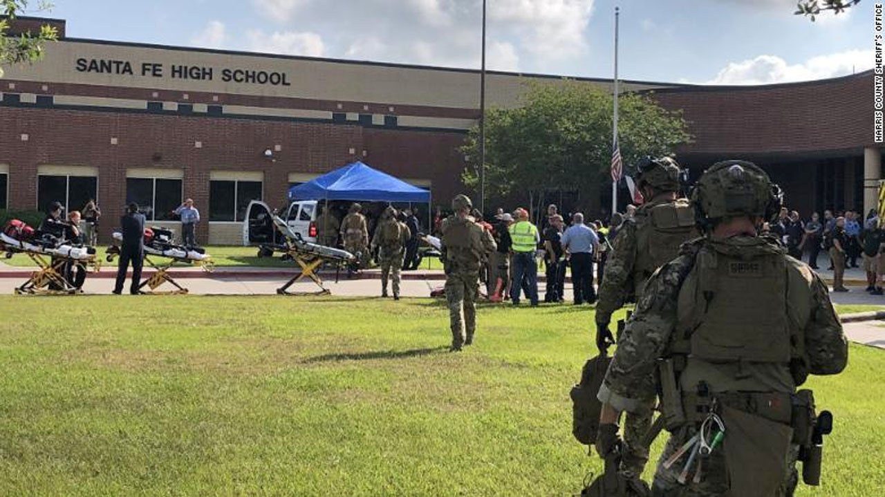Heavily-armed law enforcement officers surround Santa Fe High School near Houston on May 18, 2018. (Harris County Sheriff's Office via CNN)