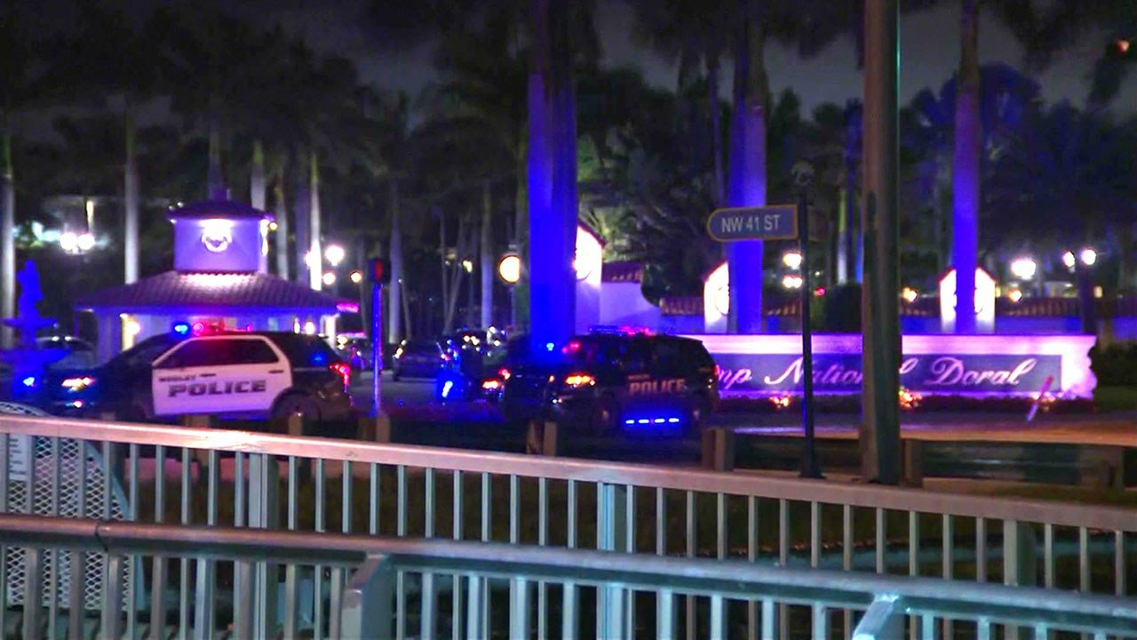 Police surround the Trump golf resort in Doral, Florida on May 18, 2018. (WPLG via CNN)
