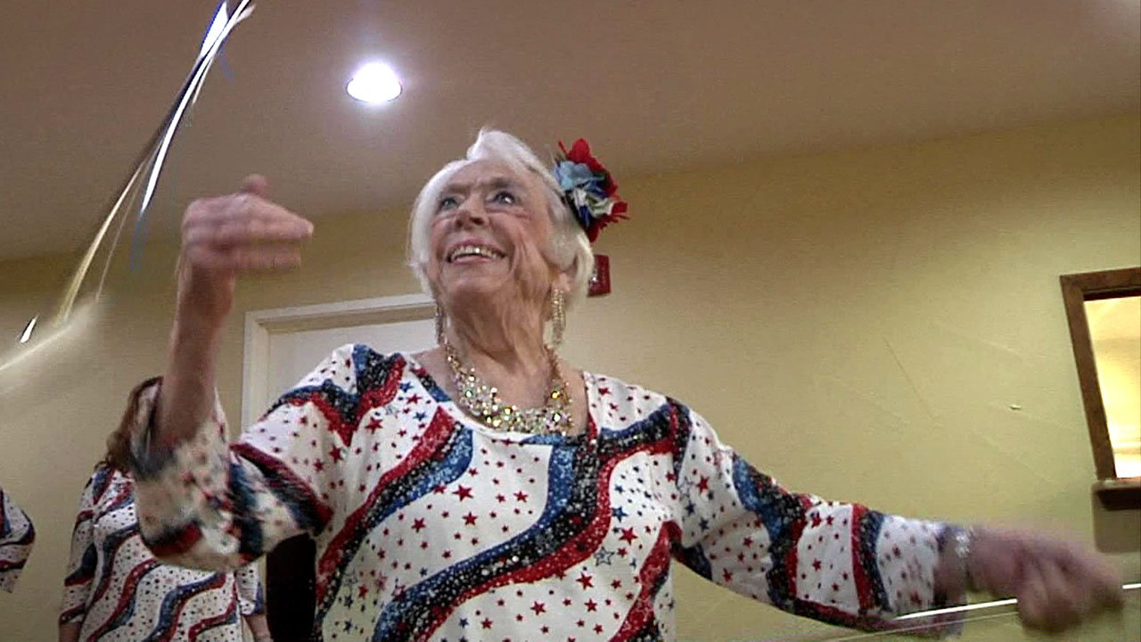 Jeannie Strain says she's been twirling for most of her 82 years. (KTEN)