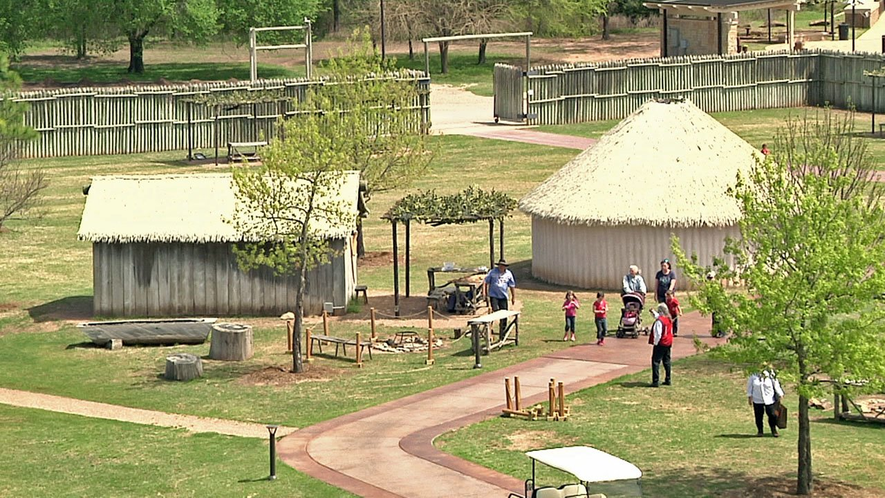 The traditional village exhibit at the Chickasaw Cultural Center. (KTEN)