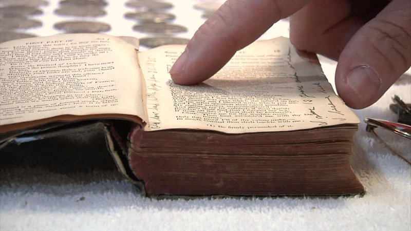 Tripp's findings included a Shakespeare book with diary entries written in the margins. (KTEN)