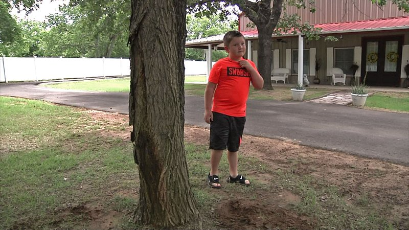 Tripp surveys the Lone Grove backyard where he uncovered treasure. (KTEN)