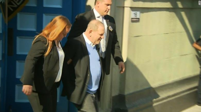 Harvey Weinstein leaves the NYPD precinct in handcuffs after he was arrested on May 25, 2018. (CNN)