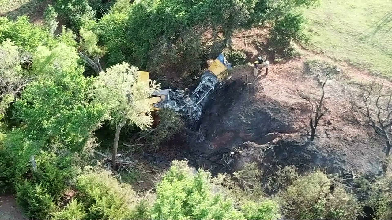 The wreckage of a crop duster that crashed northwest of Oklahoma City on May 30, 2018. (KFOR)
