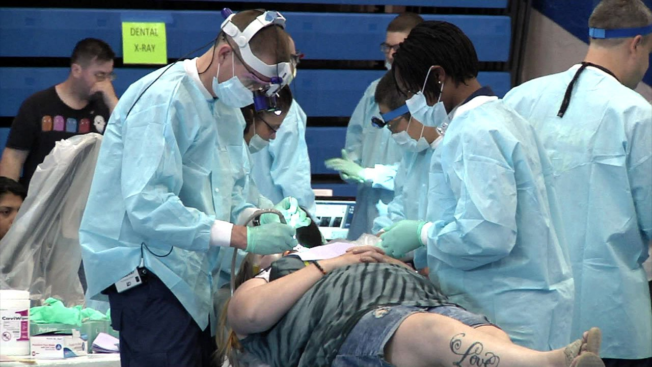 Hundreds of patients received free medical, dental and vision care at the Remote Area Medical clinic at Southeastern Oklahoma State University in Durant. (KTEN)