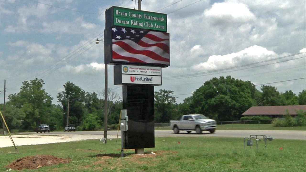 There's a new sign at the Bryan County Fairgrounds. (KTEN)