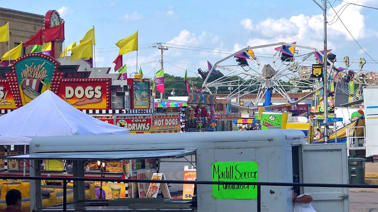 The midway at the 2018 National Sand Bass Festival in Madill. (KTEN)