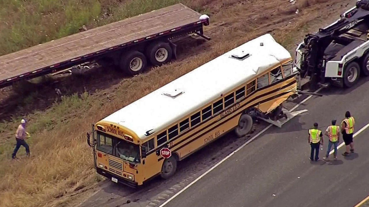 A Bland ISD school bus was rear-ended by an 18-wheeler on June 7, 2018. (KTVT via CNN)