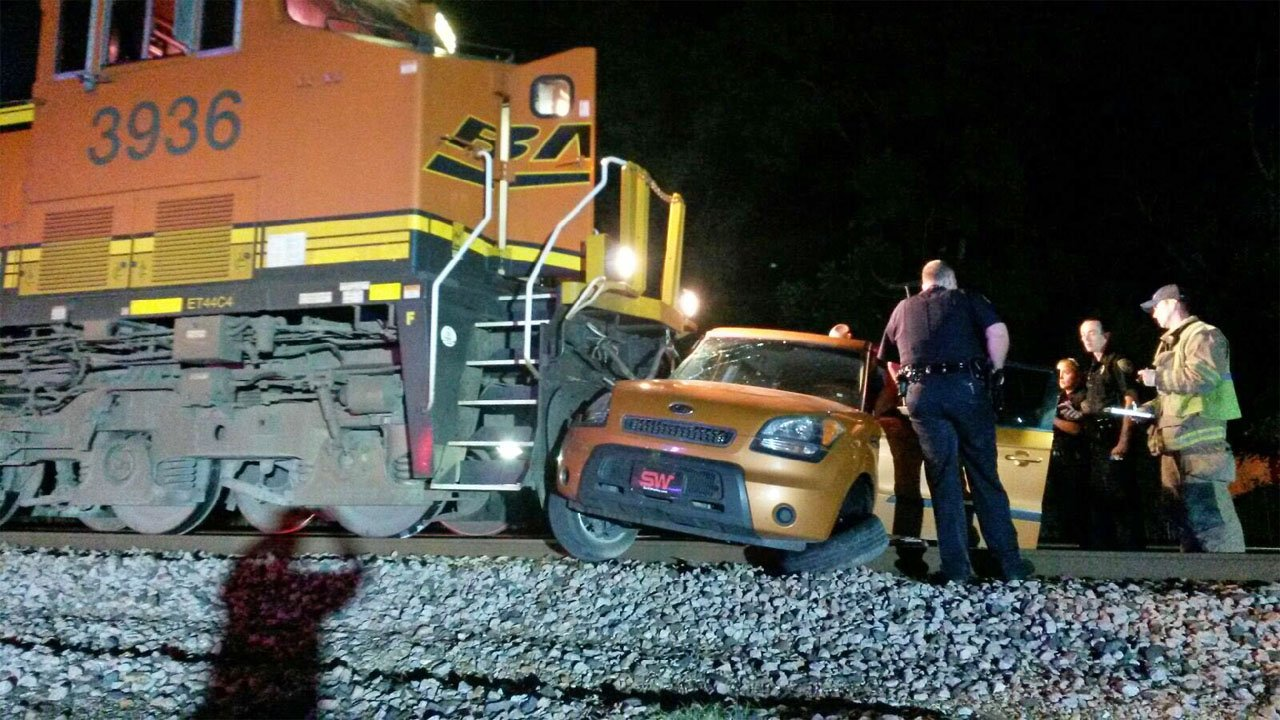 No one was seriously injured when a train hit a car in Ada on June 9, 2018. (KTEN)
