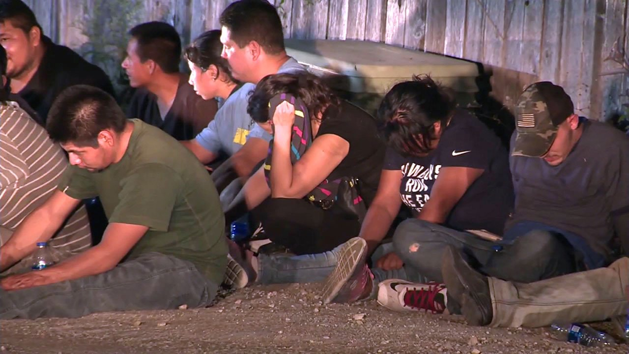Dozens of people were discovered in a trailer in San Antonio on June 12, 2018. (KSAT via CNN)