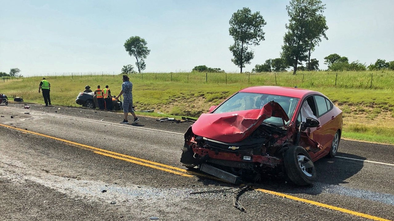 Two cars collided near the intersection of State Highway 84 and FM 91 in Denison on June 13, 2018. (KTEN)