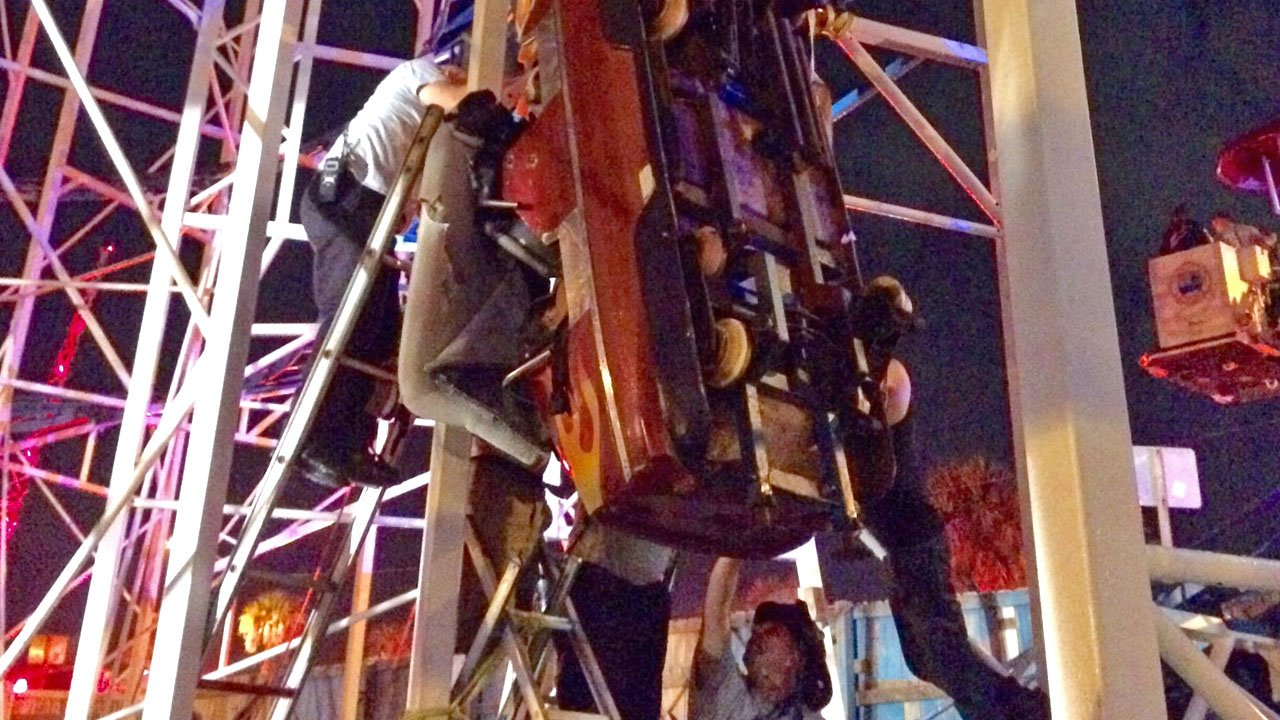 Emergency personnel in Daytona Beach, Florida, work to rescue riders from a dangling roller coaster car on June 14, 2018. (Courtesy Daytona Beach FD)