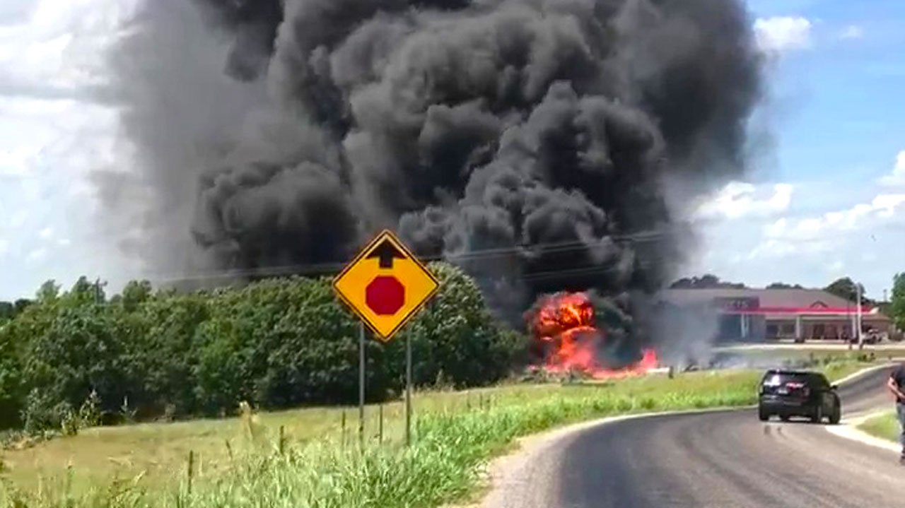 A truck overturned and burst into flames near Kingston on June 16, 2018. (Courtesy Terri Weir)
