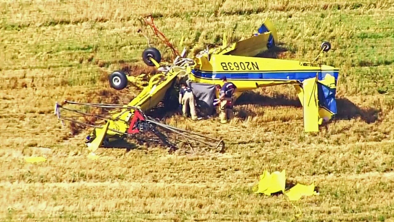 Pilot Rodney Sherry was killed when his crop-dusting plane crashed in a field near Enid, Oklahoma, on June 19, 2018. (KOCO via CNN)