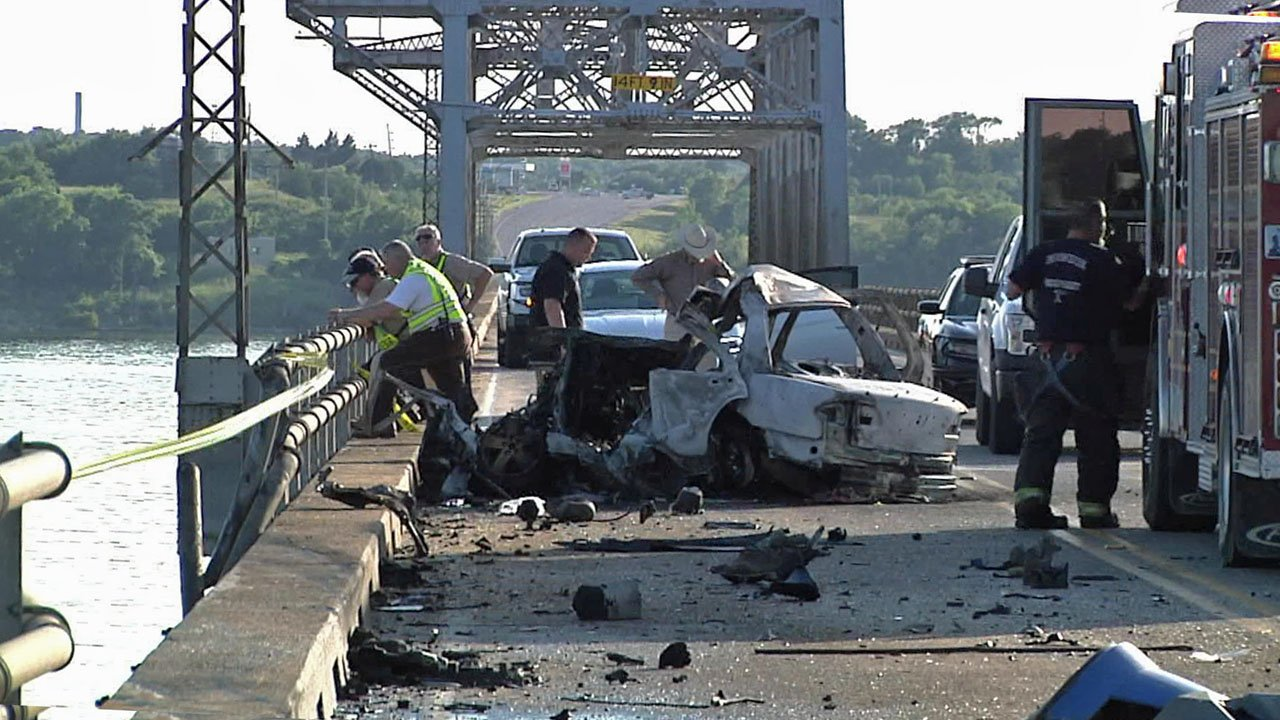 At least two motorists were killed when a car collided with an 18-wheeler on the Roosevelt Bridge over Lake Texoma on June 21, 2018. (KTEN)