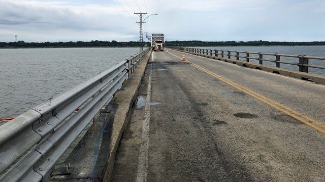 The Roosevelt Bridge was narrowed to one lane on June 23, 2018 as work continued to recover a truck that plunged from the span two days earlier. (KTEN)