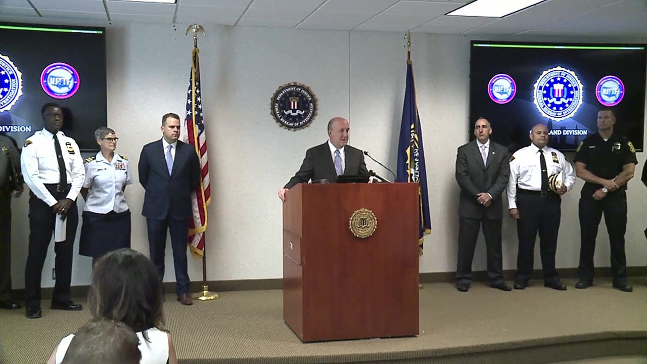 The FBI announces the arrest of a man who allegedly planned a July 4 terror attack in Cleveland. (WJW via CNN)