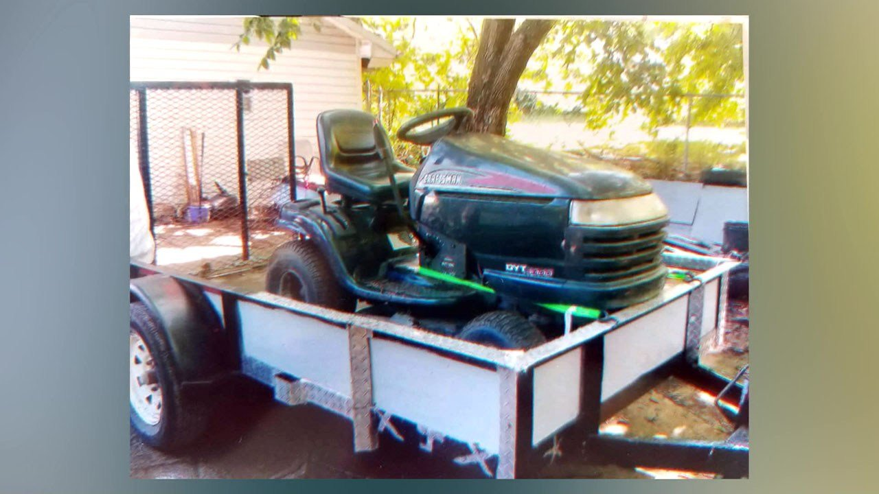 A photo of the trailer and Craftsman riding mower that were stolen from James Holt. (Courtesy)