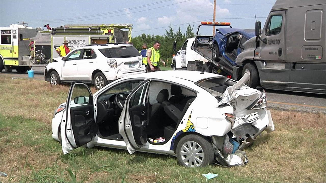 Seven people were injured in a five-vehicle crash on U.S. 69/75 in Calera. (KTEN)