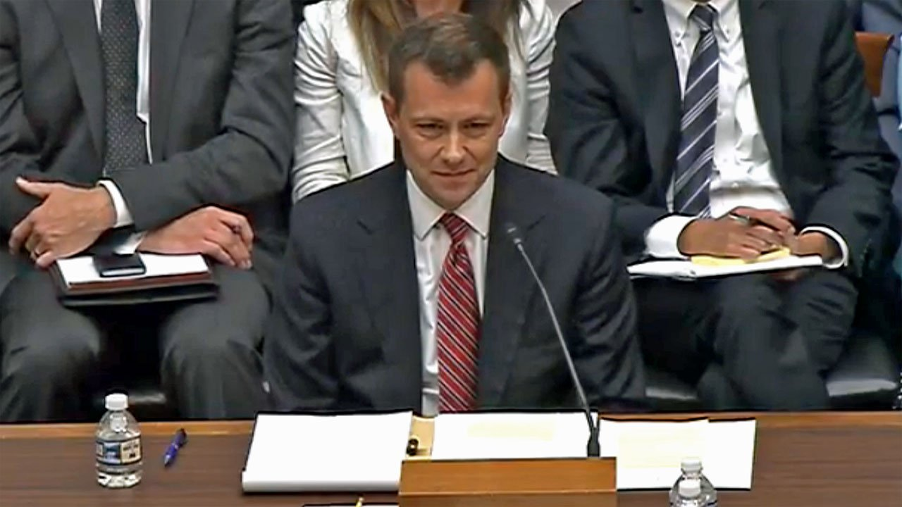 FBI agent Peter Strzok testifies before a House committee on July 12, 2018. (U.S. House)