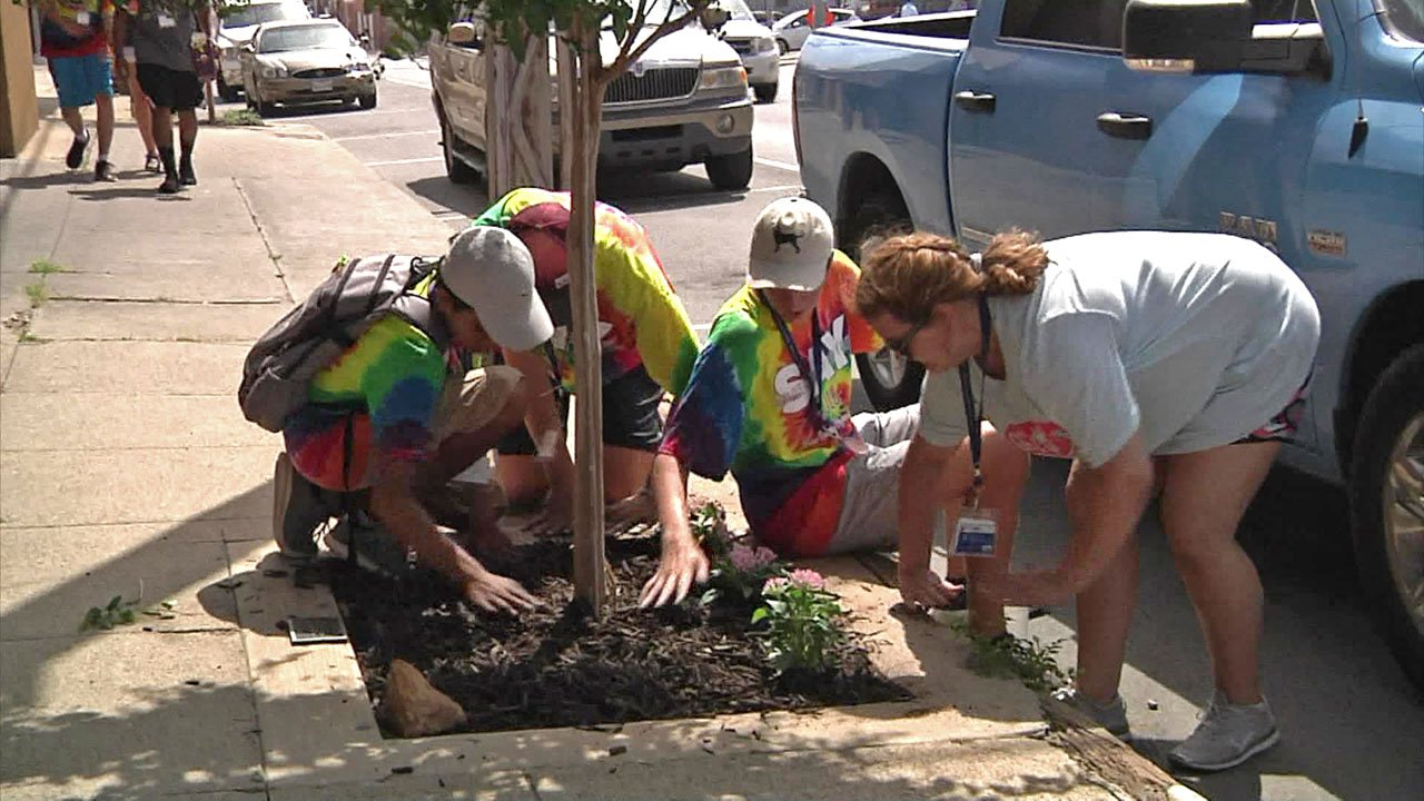 Volunteers with the Service Academy for Youth are planting trees in downtown Sherman. (KTEN)