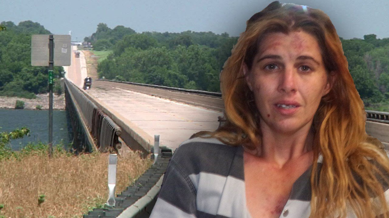 Sarah McCullough was arrested after a scuffle with deputies on the Willis Bridge. (KTEN/Marshall County Sheriff)
