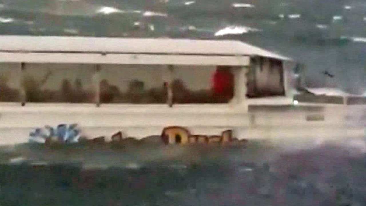 Photo shows a tourist boat moments before it capsized in Table Rock Lake, Missouri, on July 19, 2018. (NBC News)