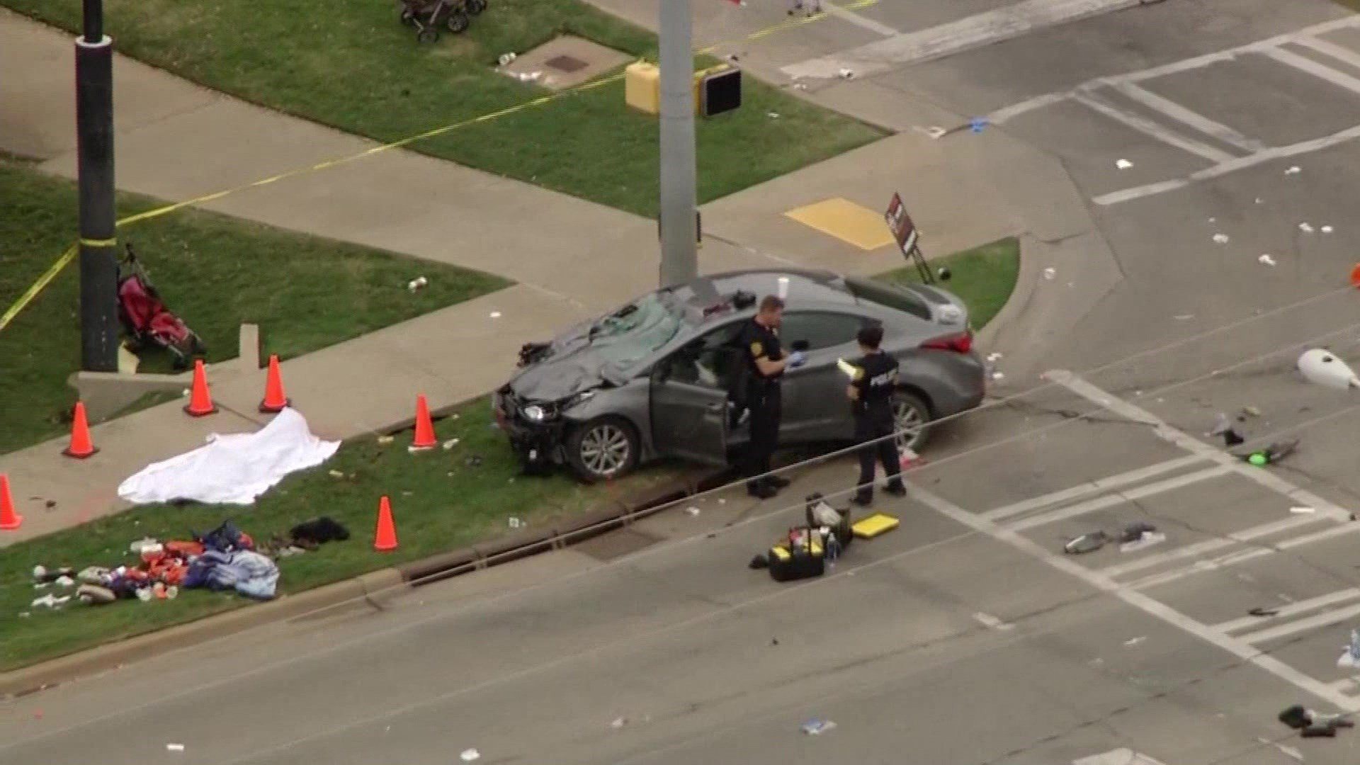Four people were killed when a car crashed into a homecoming parade in Stillwater, Oklahoma, on October 24, 2015. (KFOR)