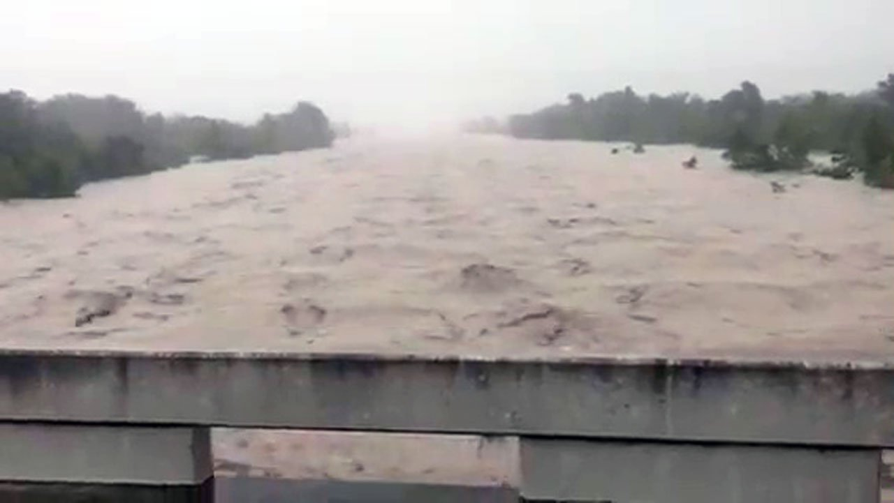 A view of the swollen Uvalde River in Texas. (National Weather Service via Twitter)