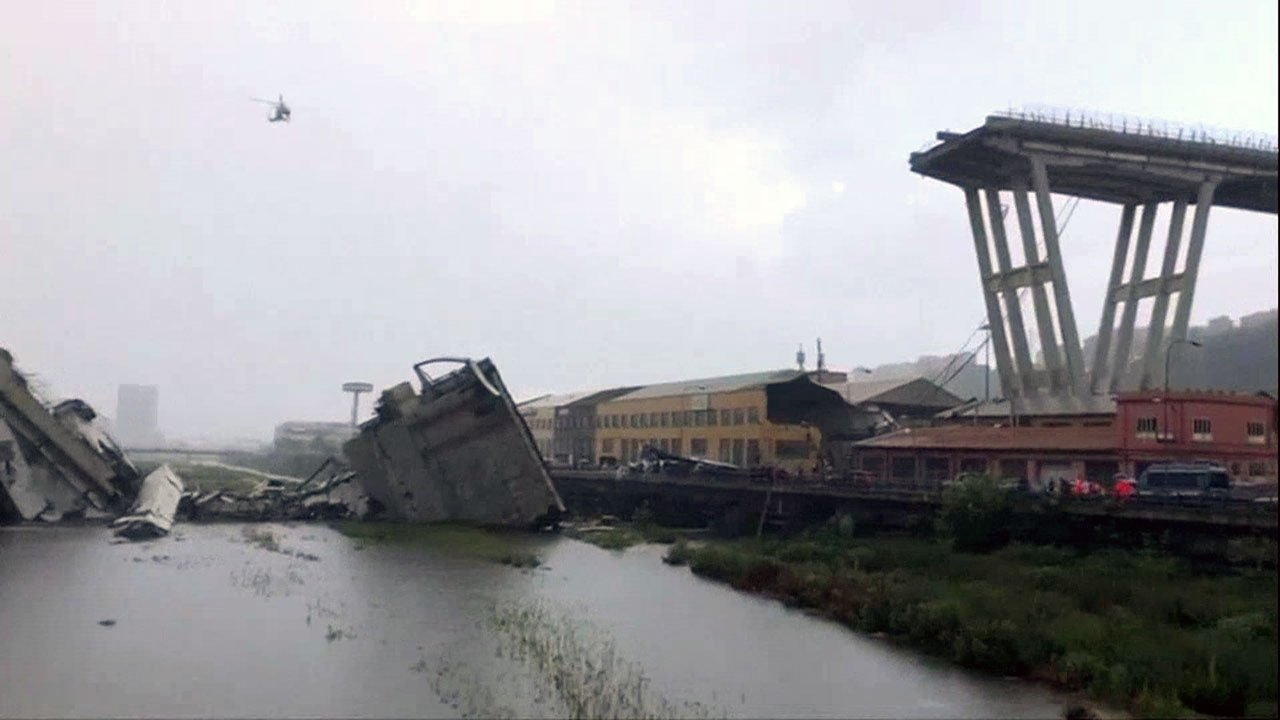 A section of this highway bridge collapsed in Genoa, Italy, on August 14, 2018. (EBU via NBC)