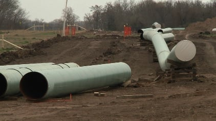 Construction work on the Keystone Gulf Coast Project in Atoka County in March