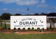 Durant Welcome Sign located at 70 E
